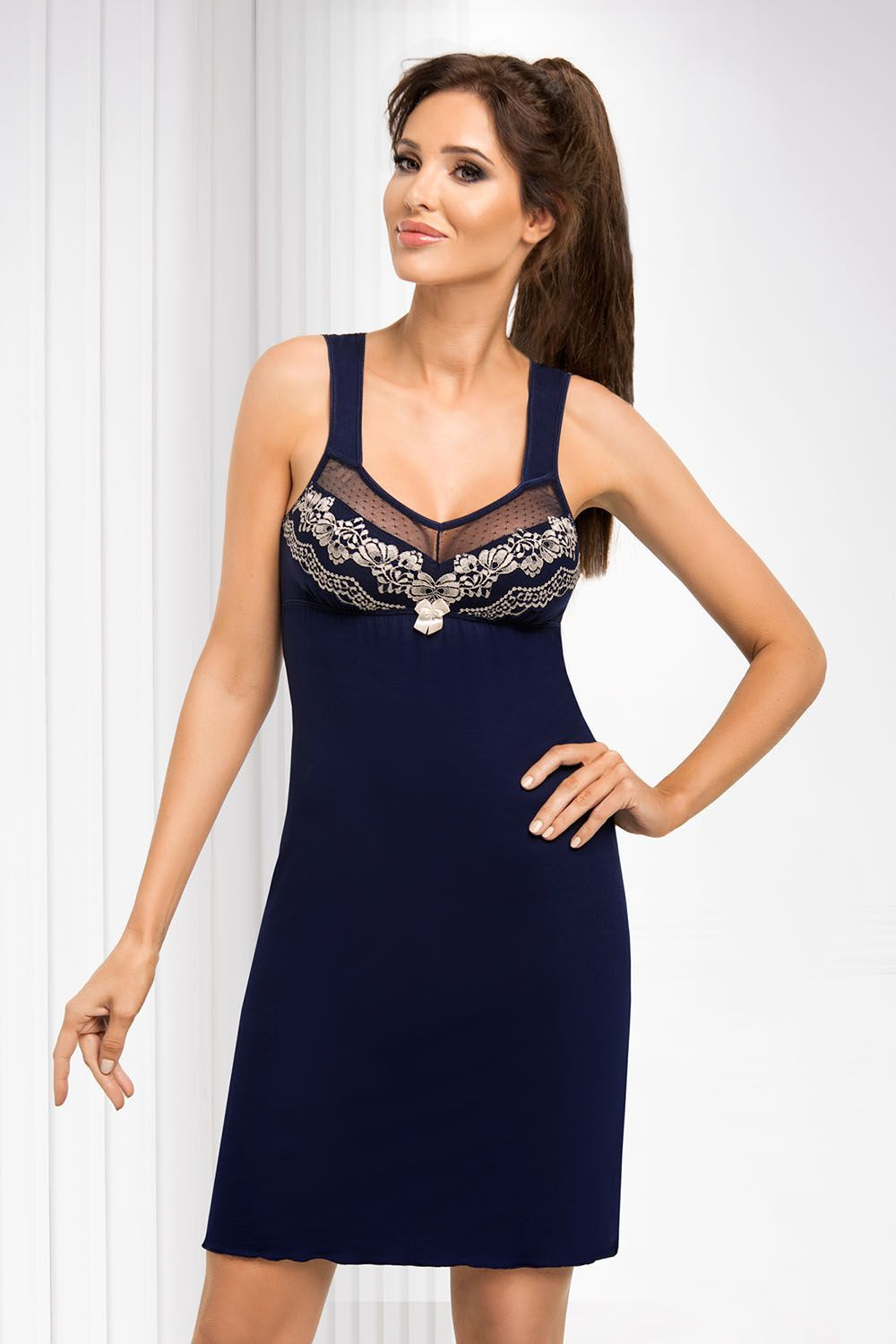 Jasmine nightdress Dark Blue, don_jasmine nightdress dark blue, donna, Польша купить оптом на на Vishcopt.ru