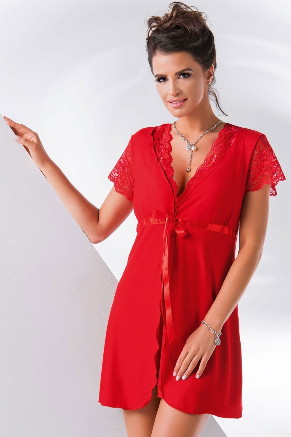 Megi dressing gown Red, don_megi dressing gown red, donna, Польша купить оптом на на Vishcopt.ru