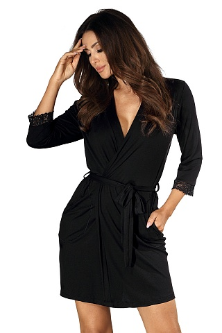 Eleni dressing gown Black, don_eleni dressing gown black, donna, Польша