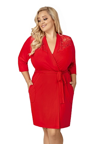 Tess plus dressing gown Red, don_tess plus dressing gown red, donna, Польша