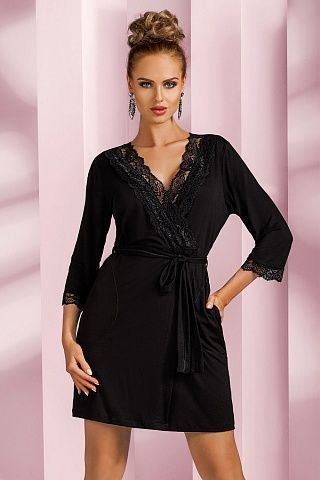 Nadia dressing gown Black, don_nadia dressing gown black, donna, Польша