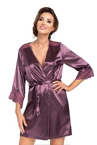 Eva dressing gown Plum, don_eva dressing gown plum, donna, Польша